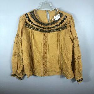 NWT Zara embroidered boho puffy sleeves Sz L